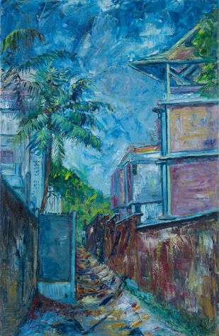 ALLEYWAY by A.Sathya, Impressionism Painting, Oil on Canvas, Ming color