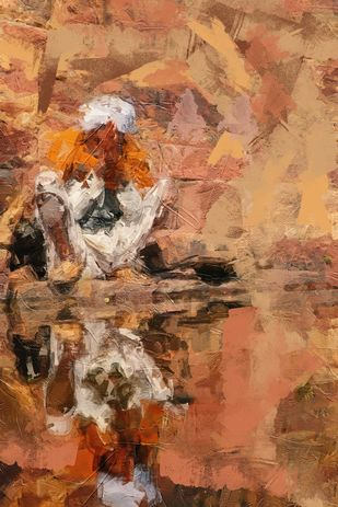 inner reflection by Shashank Sharma, Digital Digital Art, Digital Print on Canvas, Chocolate color