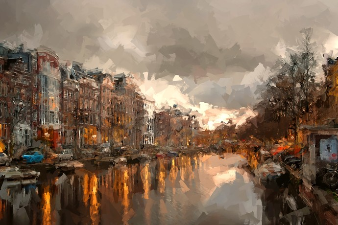 amsterdam eve by Shashank Sharma, Abstract Digital Art, Digital Print on Canvas, Cement color