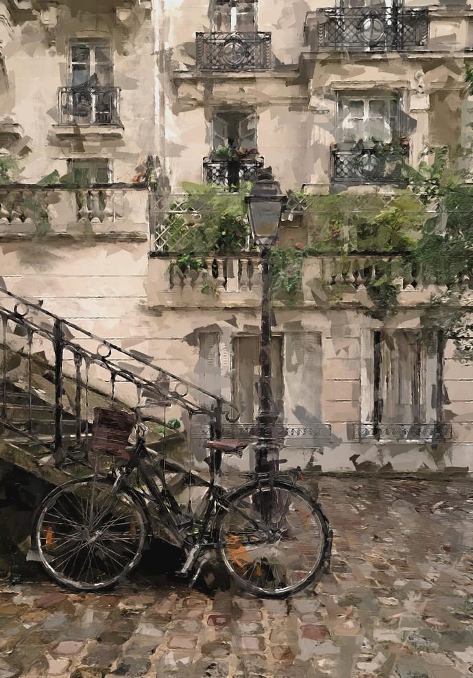 French street by Shashank Sharma, Digital Digital Art, Digital Print on Canvas, Sandstone color