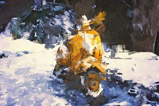 mountain scooter by Shashank Sharma, Digital Digital Art, Digital Print on Canvas, Bone color