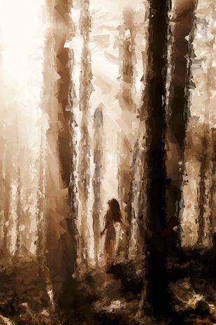 finder in forest by Shashank Sharma, Abstract Digital Art, Digital Print on Canvas, Karaka color