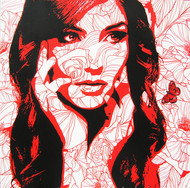 The lady 4 by Sujit Karmakar, Pop Art Painting, Acrylic on Canvas, Cocoa Brown color