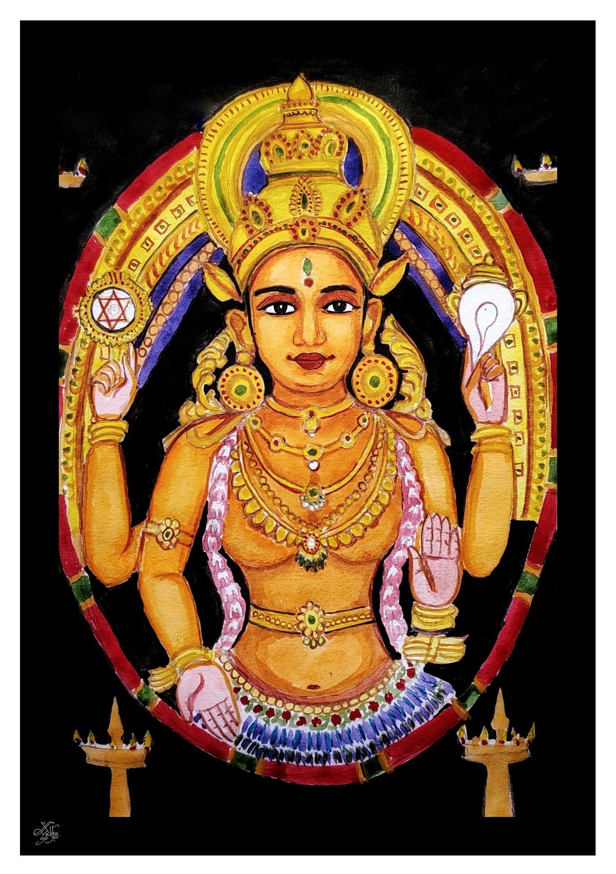 Chottanikkara Amma by Subbaraman Nurani, Traditional Painting, Watercolor on Paper, Di Serria color