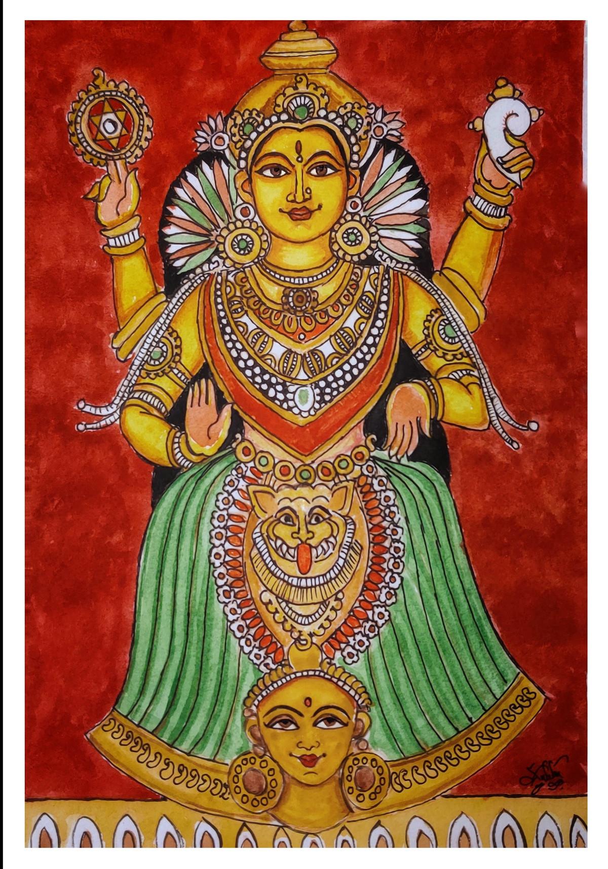 Mookambika Devi Digital Print by Subbaraman Nurani,Traditional