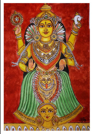 Mookambika Devi by Subbaraman Nurani, Traditional Painting, Watercolour and Pen and Ink on Paper, Tamarillo color