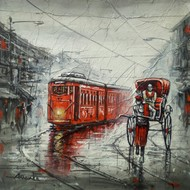 City of Kolkata by Ananda Das, Impressionism Painting, Acrylic on Canvas, Lemon Grass color