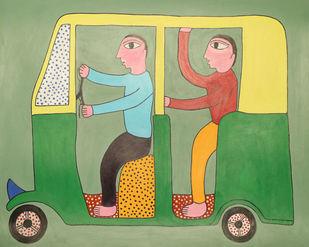 Jogi Art by Soni Jogi by SONI JOGI, Folk Painting, Mixed Media and Pen on Paper, Asparagus color