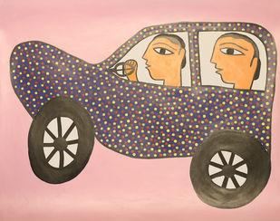 Jogi Art by Soni Jogi by SONI JOGI, Folk Painting, Mixed Media and Pen on Paper, Desert Sand color