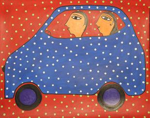 Jogi Art by Soni Jogi by SONI JOGI, Folk Painting, Mixed Media and Pen on Paper, Jasper color