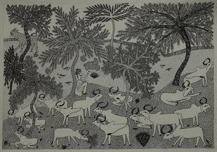 Jogi Art by Soni Jogi by SONI JOGI, Folk Drawing, Pen & Ink on Paper,