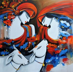 love by pradeesh k raman, Expressionism Painting, Acrylic on Canvas, Casper color