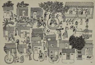 Jogi Art by Soni Jogi by SONI JOGI, Folk Drawing, Pen & Ink on Paper, Nomad color