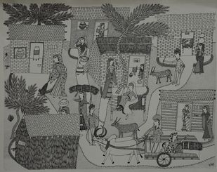 Jogi Art by Soni Jogi by SONI JOGI, Folk Drawing, Pen & Ink on Paper, Friar Gray color