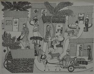 Jogi Art by Soni Jogi by SONI JOGI, Folk Drawing, Pen & Ink on Paper, Friar Gray color