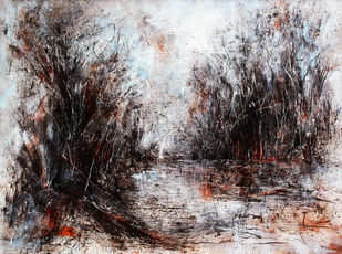 Rhythm of Nature by Afshana Sharmeen, Abstract Painting, Oil on Canvas,