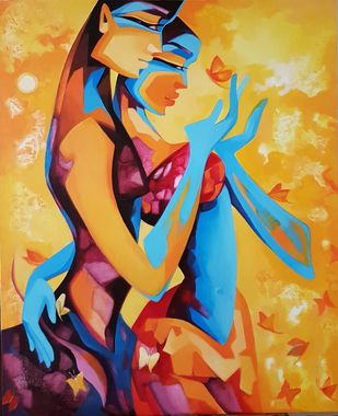Enamored by Laxmi Mysore , Expressionism Painting, Acrylic on Canvas, Brandy Punch color