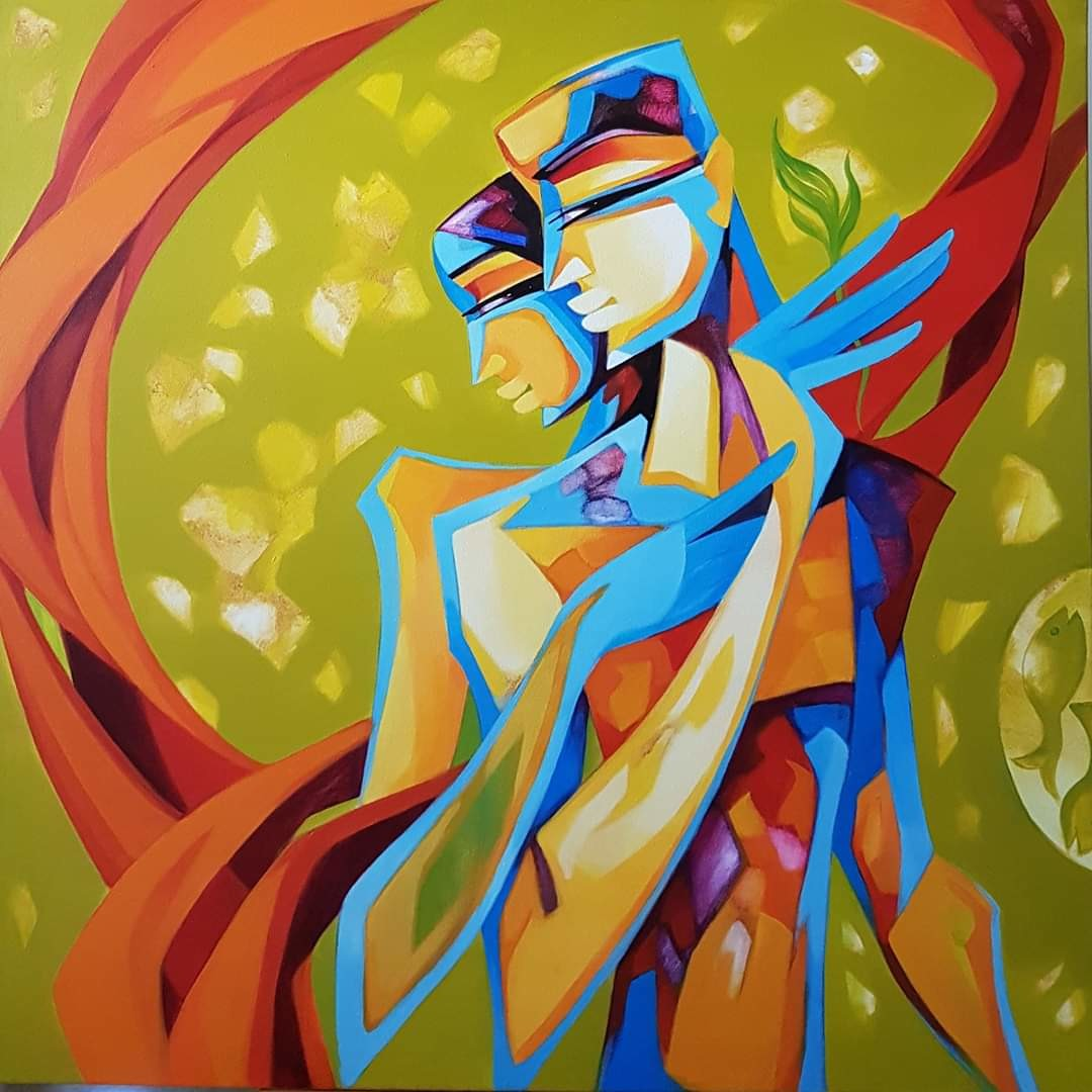 Bonded with love by Laxmi Mysore , Expressionism Painting, Acrylic on Canvas, Alpine color