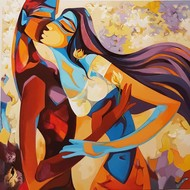 A Love Story by Laxmi Mysore , Expressionism Painting, Acrylic on Canvas, Ship Gray color