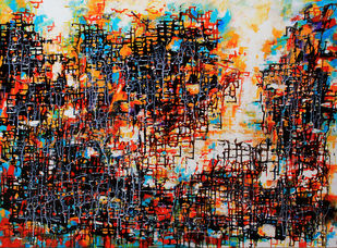 Linear Abstract 1 by Afshana Sharmeen, Abstract Painting, Mixed Media on Canvas, Cocoa Brown color