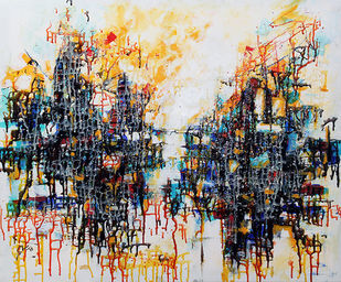 Reflected II by Afshana Sharmeen, Abstract Painting, Mixed Media on Canvas, Swirl color