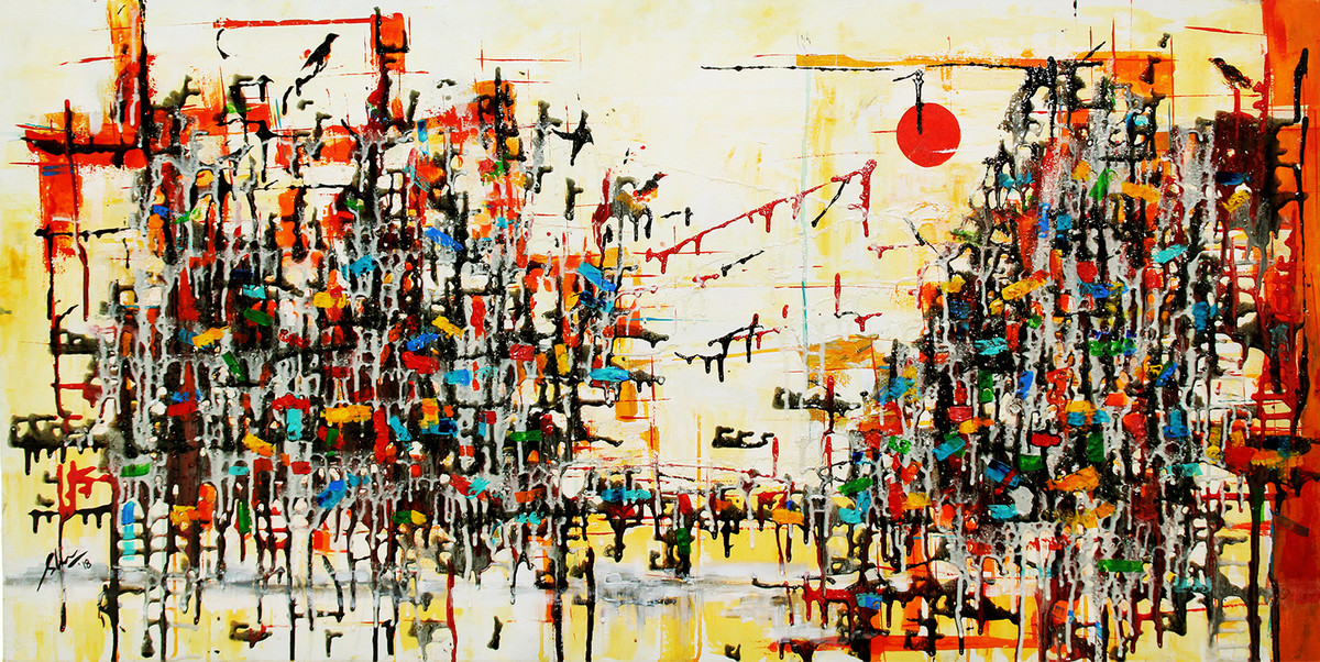 The Golden Hue III by Afshana Sharmeen, Abstract Painting, Mixed Media on Canvas, Tana color