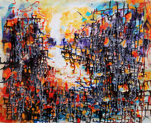 Linear Abstract II by Afshana Sharmeen, Abstract Painting, Mixed Media on Canvas, Tumbleweed color