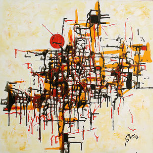 Linear Abstract IV by Afshana Sharmeen, Abstract Painting, Mixed Media on Canvas, Treehouse color