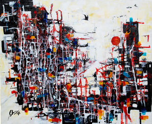Linear Abstract V by Afshana Sharmeen, Abstract Painting, Mixed Media on Canvas, Alto color