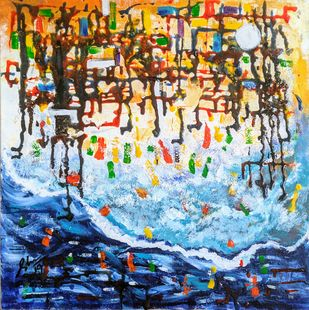 By the shore by Afshana Sharmeen, Abstract Painting, Mixed Media on Canvas, Tiara color