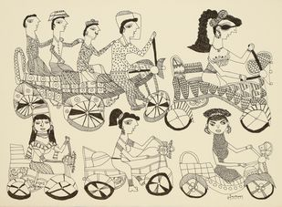Jogi Art by Sangeeta Jogi by Sangeeta Jogi, Folk Drawing, Pen & Ink on Paper, Stark White color