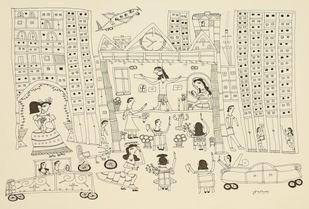 Jogi Art by Sangeeta Jogi by Sangeeta Jogi, Folk Drawing, Pen & Ink on Paper, Aths Special color