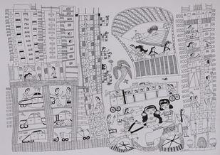 Jogi Art by Sangeeta Jogi by Sangeeta Jogi, Folk Drawing, Pen & Ink on Paper, French Gray color