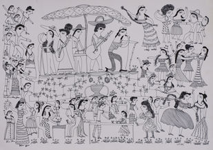 Jogi Art by Sangeeta Jogi by Sangeeta Jogi, Folk Drawing, Pen & Ink on Paper, French Gray color