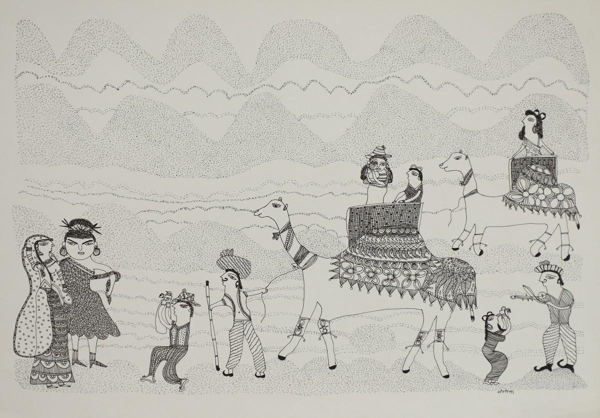 Jogi Art by Sangeeta Jogi by Sangeeta Jogi, Folk Drawing, Pen & Ink on Paper, Mist Gray color