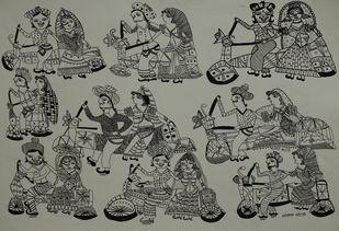 Jogi Art by Sangeeta Jogi by Sangeeta Jogi, Folk Drawing, Pen & Ink on Paper, Lemon Grass color