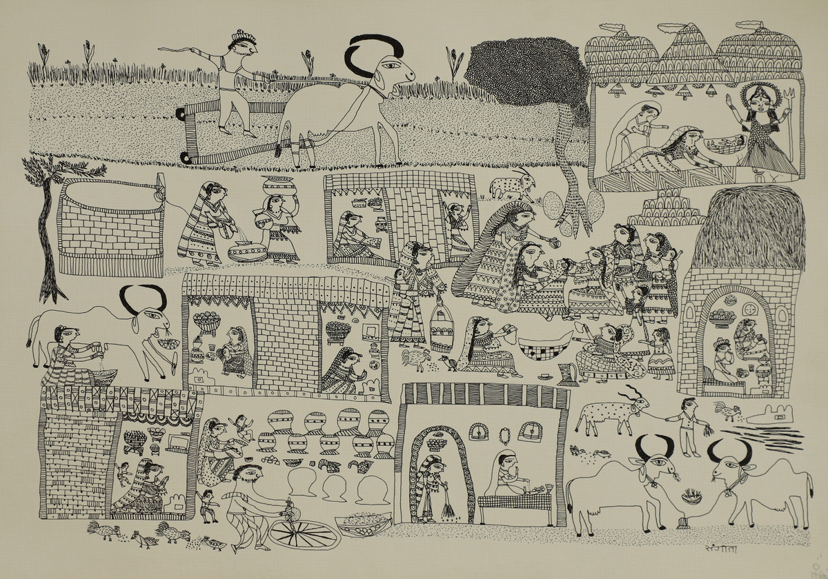 Jogi Art by Sangeeta Jogi by Sangeeta Jogi, Folk Drawing, Pen & Ink on Paper, Nomad color