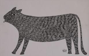 Jogi Art by Soni Jogi by SONI JOGI, Folk Drawing, Pen & Ink on Paper, Dune color