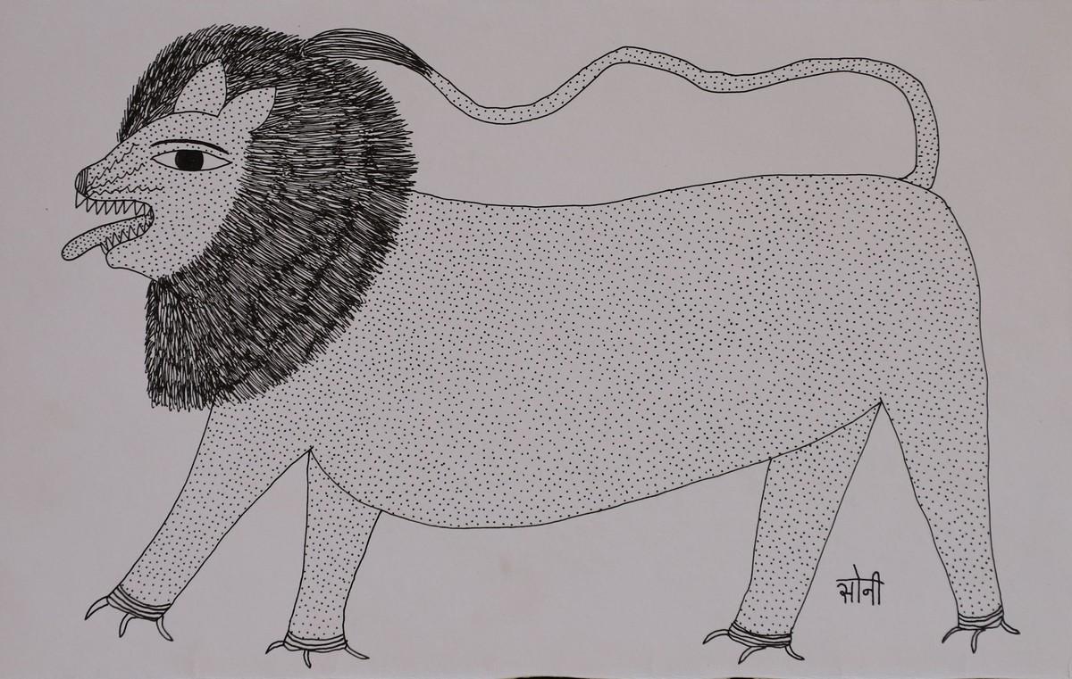 Jogi Art by Soni Jogi by SONI JOGI, Folk Drawing, Pen & Ink on Paper, Silver Chalice color