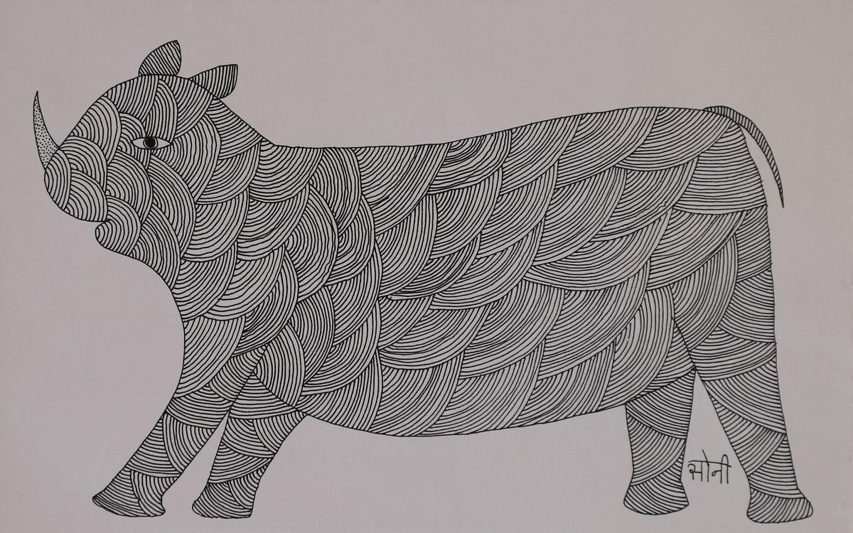 Jogi Art by Soni Jogi by SONI JOGI, Folk Drawing, Pen & Ink on Paper, Nobel color