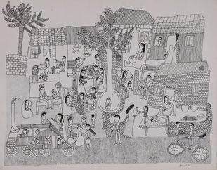 Jogi Art by Kanta Jogi by Kanta Jogi, Folk Drawing, Pen & Ink on Paper, Nobel color