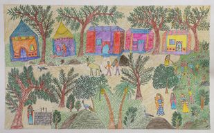 Jogi Art by Raja Jogi by Raja Jogi, Folk Drawing, Pen & Ink on Paper, Gray Olive color