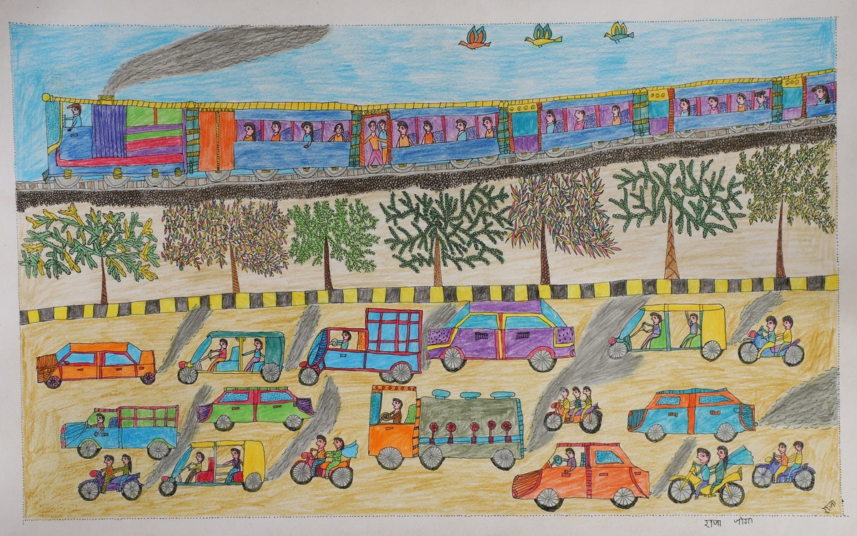 Jogi Art by Raja Jogi by Raja Jogi, Folk Drawing, Pen & Ink on Paper, Taupe Gray color