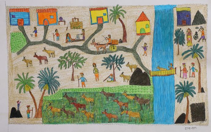 Jogi Art by Raja Jogi by Raja Jogi, Folk Drawing, Pen & Ink on Paper, William color
