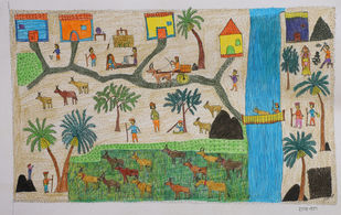Jogi Art by Raja Jogi by Raja Jogi, Folk Drawing, Pen & Ink on Paper, William color