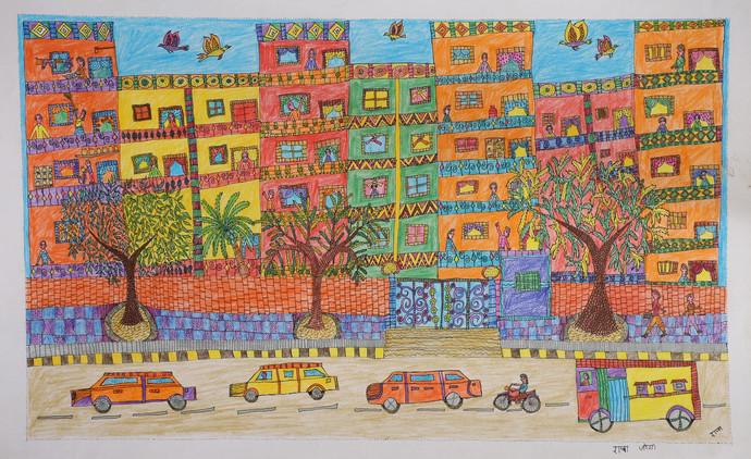 Jogi Art by Raja Jogi by Raja Jogi, Folk Drawing, Pen & Ink on Paper, Sandal color
