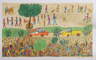 Jogi Art by Raja Jogi by Raja Jogi, Folk Drawing, Pen & Ink on Paper, Indian Khaki color