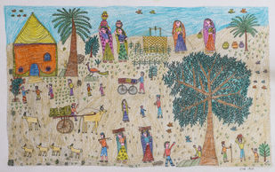 Jogi Art by Raja Jogi by Raja Jogi, Folk Drawing, Pen & Ink on Paper, Ash color