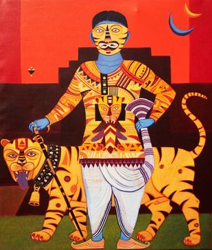 Man With Tiger by Bhaskar Lahiri, Traditional Painting, Acrylic on Canvas, Cedar color