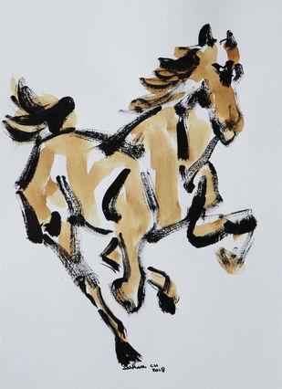 horse 50 Digital Print by Santhosh CH,Illustration